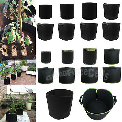 1/2/3/5/7/10/15/20 Gallon Round Black Fabric Grow Pots Plant Pouch Container Bag