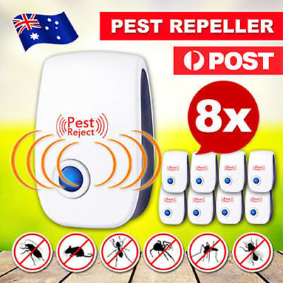 8x Electronic Ultrasonic Anti Pest Cockroach Bug Mosquito Mouse Killer Repeller