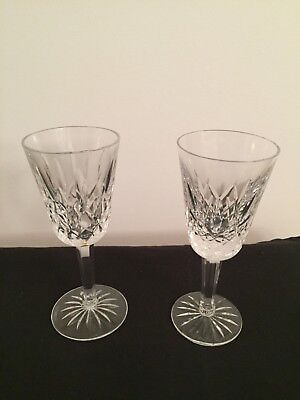 """2 Waterford Crystal Lismore 5 1/8"""" Sherry Glasses, Never used (only displayed.)"""