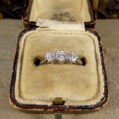 Rare Vintage Art Deco Antique 3 Ctw Diamond Engagement Three Stone Ring 1900's