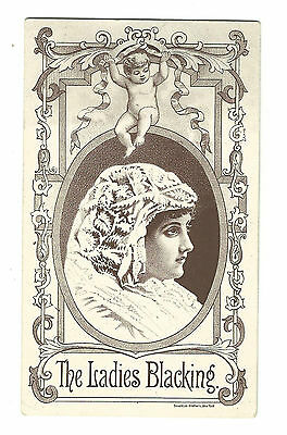 Old Trade Card Ladies Blacking For Shoes Boots Bigelow Boston Store Attleboro MA