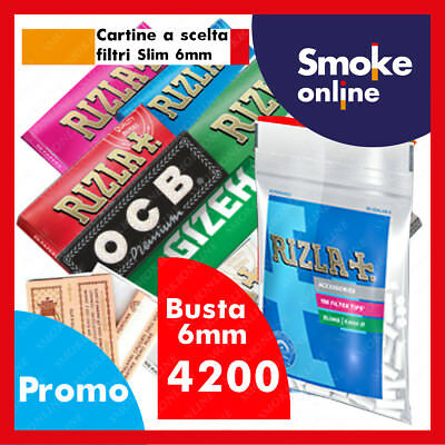 CARTINE CORTE RIZLA OCB ENJOY GIZEH BRAVO REX  SMOKING e 4200 FILTRI BUSTA SLIM