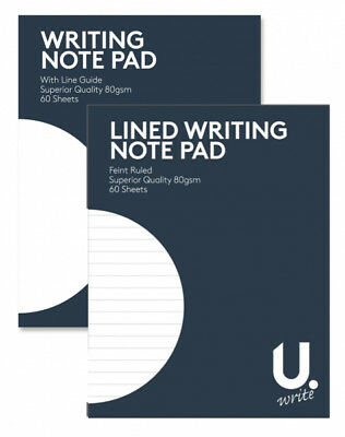 HAND WRITING NOTE PAD RULED OR PLAIN 80gsm PAPER 60 SHEETS BOOK 13.5 x 17.5cm