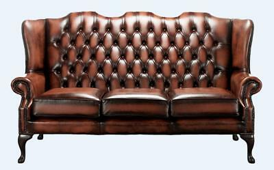 Chesterfield 3 Seater Queen Anne Mallory High Back Antique Light Rust Leather