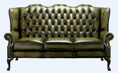 Chesterfield 3 Seater Queen Anne Mallory High Back Antique Olive Green Leather