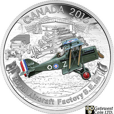2016 'Royal Aircraft Factory S.E.5A' Proof $20 Silver Coin 1oz .9999 (17560)NT