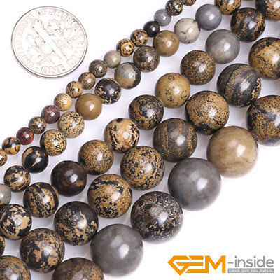 Natural Brown Artistic Jasper Gemstone Round Loose Beads For Jewelry Making 15""