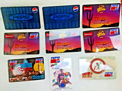 Pepsi Cola Phone Card Lot - 9 cards tota l- Have a Look! All Very Good +++