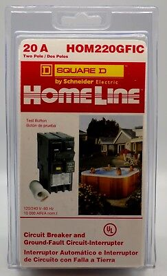 Homeline Square D Electric HOM220GFIC 20 Amp Two-Pole GFCI Circuit New Sealed