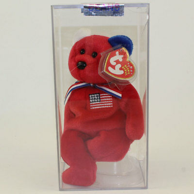 Authenticated TY Beanie Baby - AMERICA Bear (Red Version) *EARS REVERSED* MWMT's