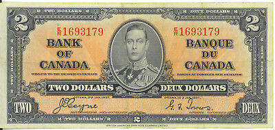 Bank of Canada 1937 $2 Two Dollars Coyne-Towers E/R Prefix VF King George VI