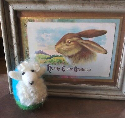 OOAK Artist Original Needle Felted Wool Animal White Baby Lamb Easter Egg Decor