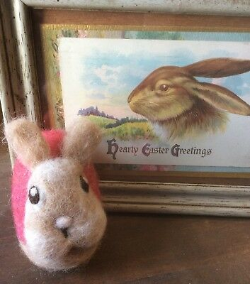 OOAK Artist Original Needle Felted Wool Animal Tan Bunny Easter Egg Decor