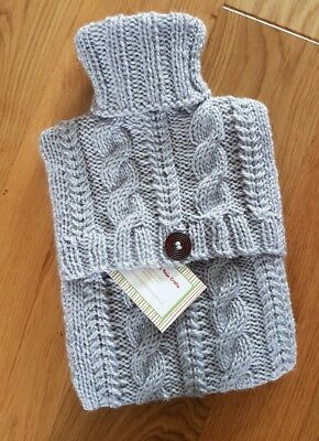 Hand Knitted Aran Hot Water Bottle Cover - Silver Grey