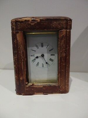 Vintage Antique French Carriage Clock in original wood travel Case