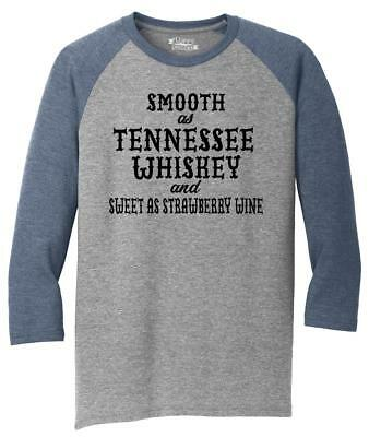 Mens Smooth As Tennessee Whiskey 3/4 Triblend Alcohol Country Redneck Party