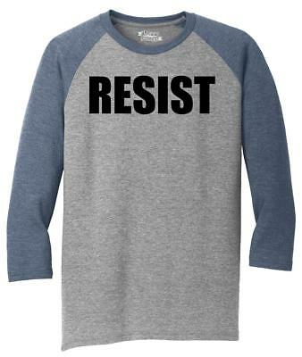 Mens Resist Tee Anti Donald Trump Political Protest Trump Rally Tee 3/4