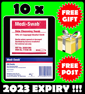 10 x Alcohol Wipes - Medi Swabs - Expiry 2023 - Sterile Medical Isopropyl Swab