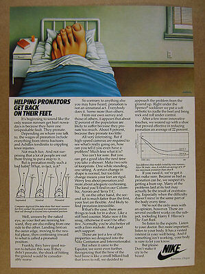 1982 Nike Running Shoes pronate runners foot in bed art vintage print Ad