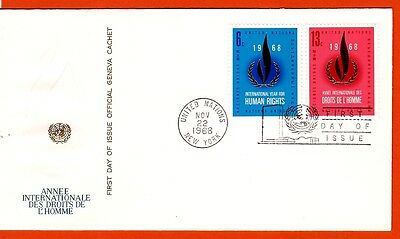 FDC18 UNITED NATIONS Envelope oblit.1er day 1968 THE RIGHTS OF L'HOMME