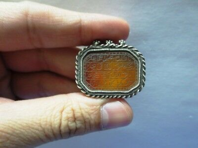 Rare Islamic Hand Carved Arabic Calligraphy Sulemani Agate Silver Pendant Amulet