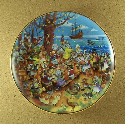 PAWS FOR THANKS Thanksgiving Plate Cat Kitten Collage Bill Bell Franklin Mint