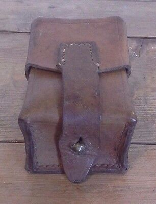 Vintage Leather Ammo Pouch Cartridge Holder, Antique, Military