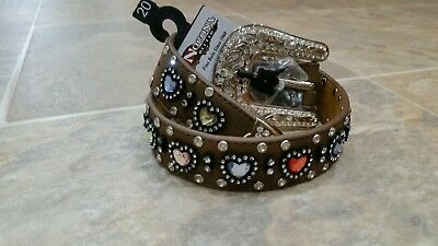 NWT Nocona Western Girls Kids Belt Size 20 Colored Heart Concho Brown N4426844