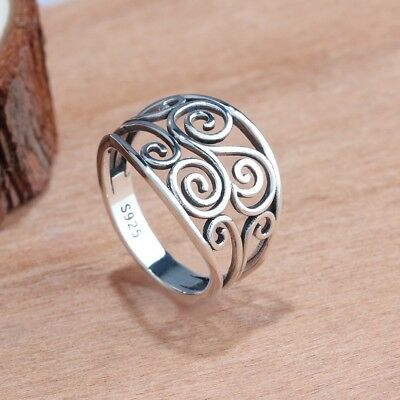 Vintage Women Solid Sterling Silver Wide Band Celtic Knot Rings #6-8