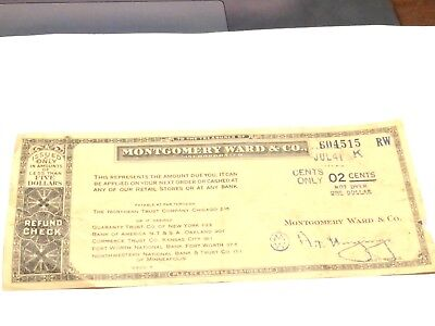 Montgomery Ward and Co. refund check