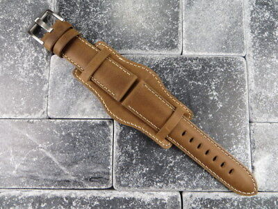 German Military Aviator Watch Strap Army Leather Cuff Watch Band Bund Brown WH