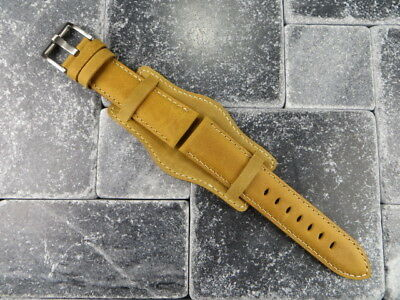 70c23d62591 German Military Aviator Watch Strap Army Leather Cuff Watch Band Bund L  Brown WH