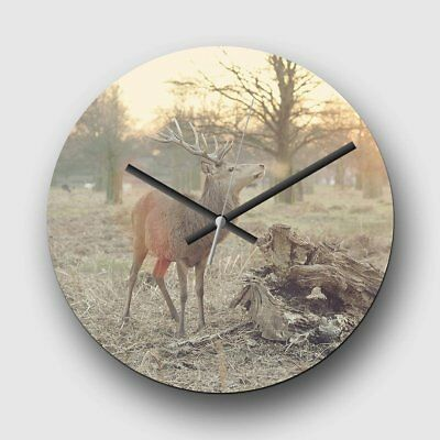 Large 32cm Analog Wall Clock - Stag Forest Landscape - Silent Non-Ticking Quartz