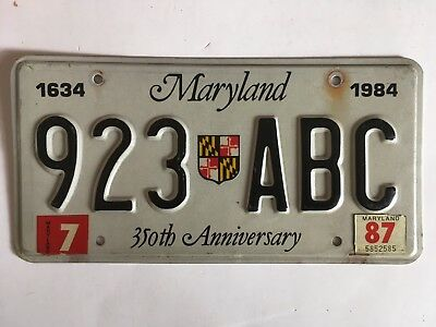 1984 Maryland License Plate Shield 350th Anniversary 1987 LOW $3.99 SHIPPING