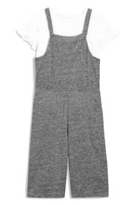 Next Girl`s Grey T-Shirt and Dungarees Size 6 years