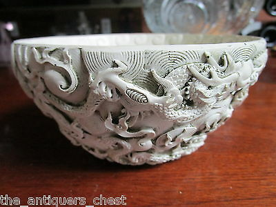 Chinese white unglazed openwork dragon bowl[ made from compound [*93]