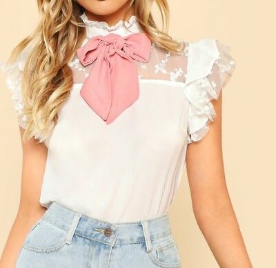 3 Colors White Pink Black Tie Neck Sleeveless Contrast Mesh Ruffle Top Blouse