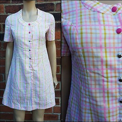 60s/70s Vintage St Michael Pink Checked Mini/Scooter Dress. Mod