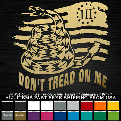 Tattered Flag Snake Don't Tread on Me Right 3% 2nd Amendment Sticker Decal