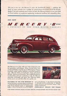 1939 Ford Mercury V 8 Type Red Man & Woman Back Seat Of Car Art Print Ad
