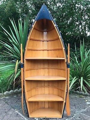 Handmade Nautical Maritime Clinker Rowing Boat Pine Bookcase Display Cabinet