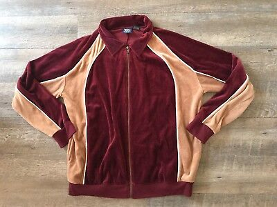 Vintage John Blair Men's Velour Jacket Burgundy Tan Size XL 70s 80s