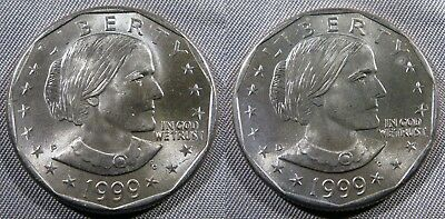 1999 P D Susan B Anthony Dollar Set of 1-P 1-D Brillaint Uncirculated Roll Coins