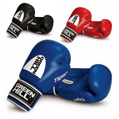 Green Hill Tiger Real Leather Boxing Gloves Velcro Closing Perfect Fitting
