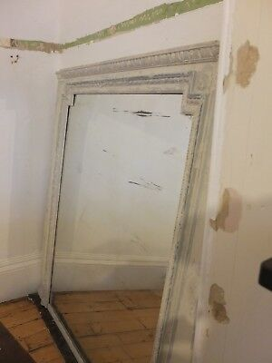 Stunning huge massive antique french chateau overmantle mirror original glass