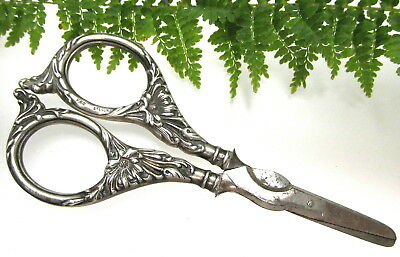 Antique Art Nouveau Sterling Dress Making Scissors ~ Floral Design ~Marked F&b