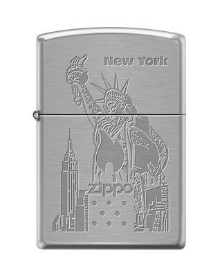 Zippo 4144, Statue of Liberty-New York, Brushed Chrome Finish Lighter