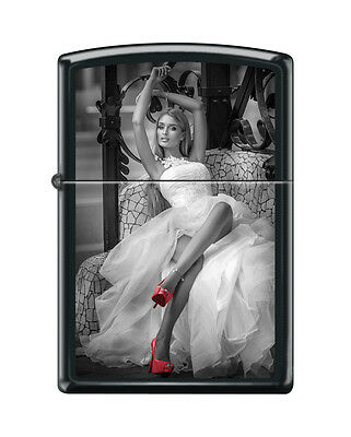 Zippo 3648, Woman in Dress-Red Shoes, Black Matte Finish Lighter, Full Size
