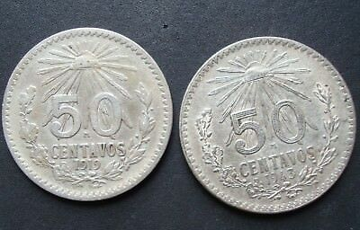 Mexico Lot 2 coins 50 Cent  Silver 1919-1943 CIRCULATED