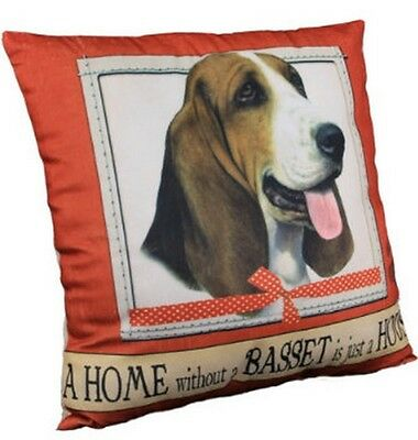 Basset Hound Throw Pillow A Home Without is Just a House Dog New Red Brown Soft